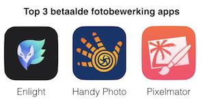 top 3 betaalde fotobewerking apps